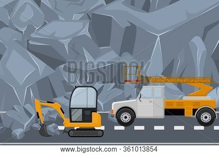 Couple Vehicle Clean Highway From Rock, Rubble Flat Vector Illustration. Alpine Construction Equipme