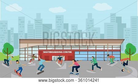 Children Ride Skateboard, Skateboarding Center For Active Kid, Flat Vector Illustration. Sport Activ