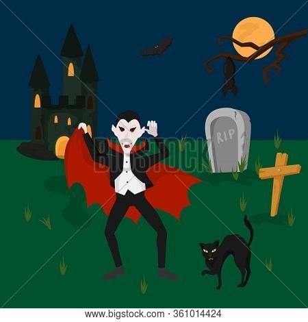 Vampire In Cemetery, Dark Horror Place, Black Cat And Sepulchre, Flat Vector Illustration. Ancient D