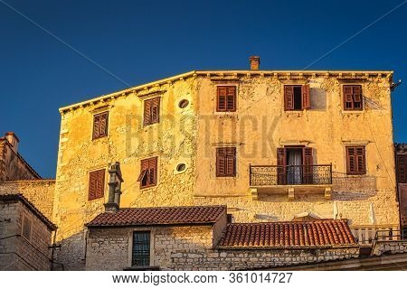 Ancient Buildings Of Historic Center Of The Croatian Town Of Sibenik At The Mediterranean Sea, Europ