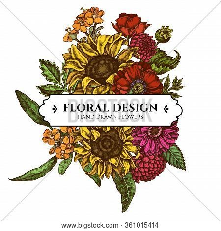 Floral Bouquet Design With Colored Poppy Flower, Gerbera, Sunflower, Milkweed, Dahlia, Veronica Stoc