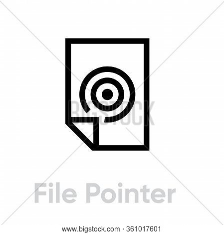File Pointer Targets Icon. Editable Line Vector.