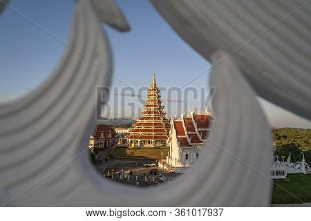 Chiang Rai, Thailand - January 1st 2020: Wat Rong Suea Ten Blue Temple In Chiang Rai, Thailand, Sout
