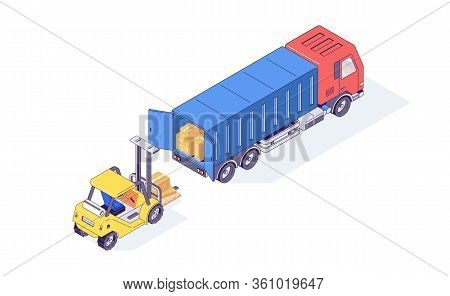 Isometric Warehouse Boxes Forklift Truck And Loader. Loader Load Goods Into The Truck For Delivery V