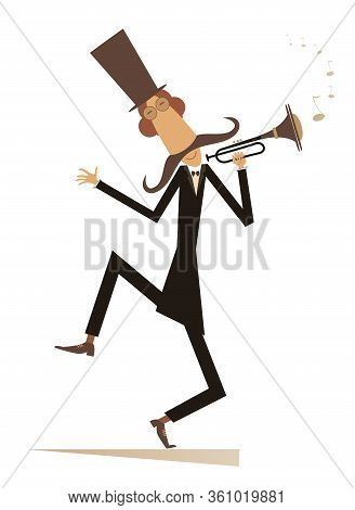 Cartoon Long Mustache Trumpeter Is Playing Music Illustration. Mustache Man In The Top Hat Playing T