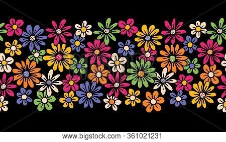 Bright Colorful Hand Drawn Felt Tip Pen Daisies On Dark Background Floral Vector Seamless Horiozonta