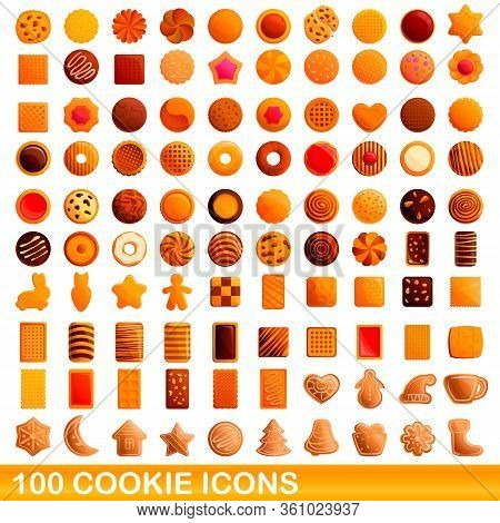 100 Cookie Icons Set. Cartoon Illustration Of 100 Cookie Icons Vector Set Isolated On White Backgrou