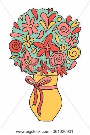Flowers In A Vase Magnificent Bouquet Isolated On A White Background. Red Flowers In A Yellow Vase I