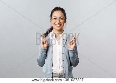 Emotions, People And Lifestyle Concept. Optimistic Happy, Smiling Asian Girl Having Faith All Be Alr