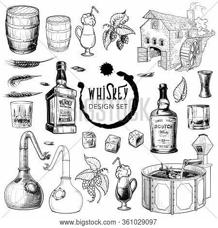 Whiskey Related Design Elements Set. Useful For Bar Pub Or Distillery Branding And Decoration. Hand