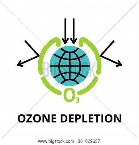 Modern Flat Thin Line Design Icon, Vector Illustration, Infographic Concept Of Ozone Depletion, For