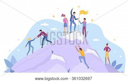 Business People Characters Climb Top Peak Landing Page Flat Vector Illustration Concept. Leadership