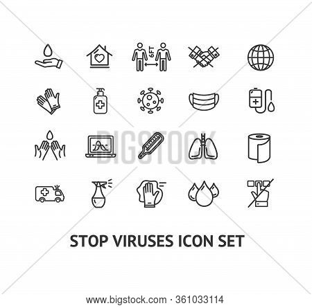 Viruse Stop Sign Black Thin Line Icon Set Include Of Mask, Globe And Vaccine. Vector Illustration Of