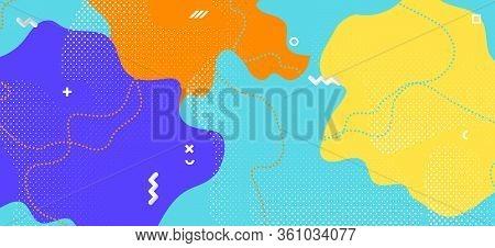 Multicolor Memphis Shape. Graphic Geometric Decoration. Futuristic Wave Backdrop. Blue Cool Texture.