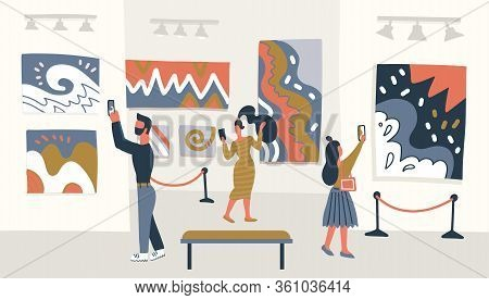 Contemporary Abstract Art Museum Concept. Exhibition Visitors Looking At The Painting Hanging On Gal