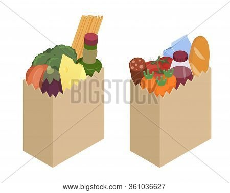 Paper Bag With Different Food Isometric Illustration. Stock Vector. Set Of Two Paper Bags. Grocery S