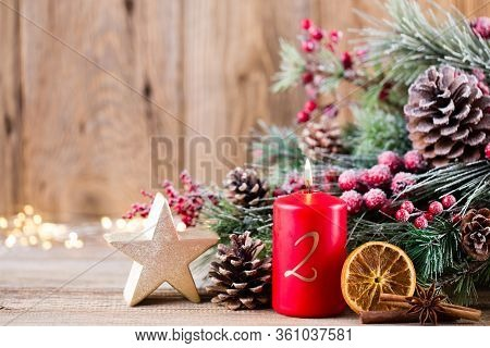 Christmas Greeting Card. Festive Decoration On Wooden Background. New Year Concept. Copy Space.  Fla