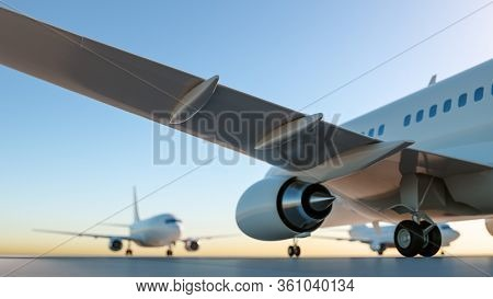 Airplanes at the empty airport. Ground view. 3D Render