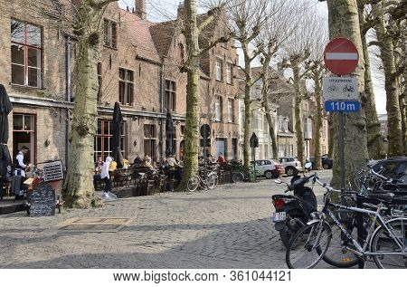 Cobbled Street In Old Town Brugge