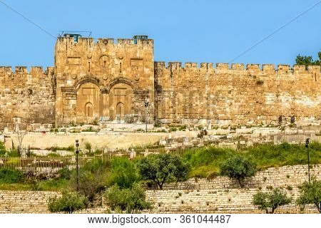 Golden Gate (another Name For The Gate Of Mercy) In Jerusalem, Israel. Located On The Eastern Wall O