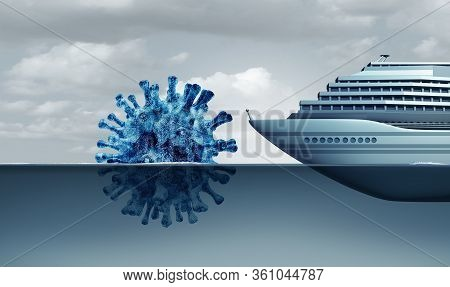 Cruise Liner Virus Danger And Ship Disease Covid-19 Impact  As An Outbreak Risk Or Coronavirus Or In