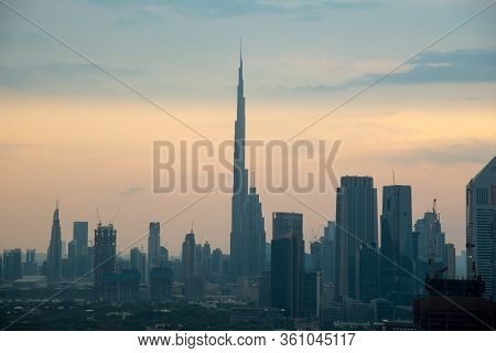 Dubai - November 15: View Over Dubai With Burj Khalifa The Tallest Building In The World Reaching Ov