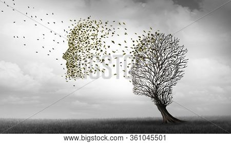 Alzheimers And Dementia Concept Of Memory Loss Disease And Losing Brain Function Memories As An Alzh
