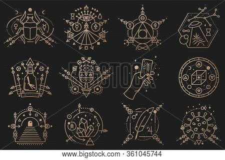 Esoteric Symbols. Vector. Thin Line Geometric Badge Outline Icon For Alchemy, Tarot Cards, Sacred Ge