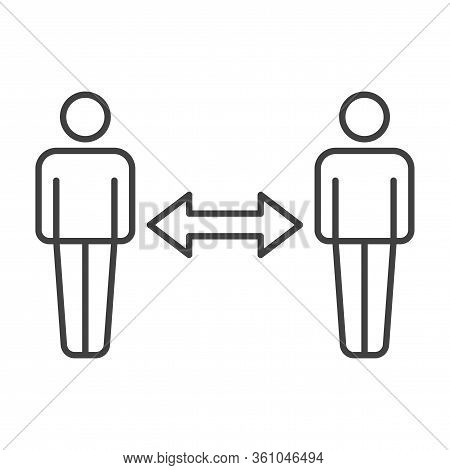 Icon Of Two People At A Certain Distance From Each Other With A Two-way Arrow Between Them. A Sign O