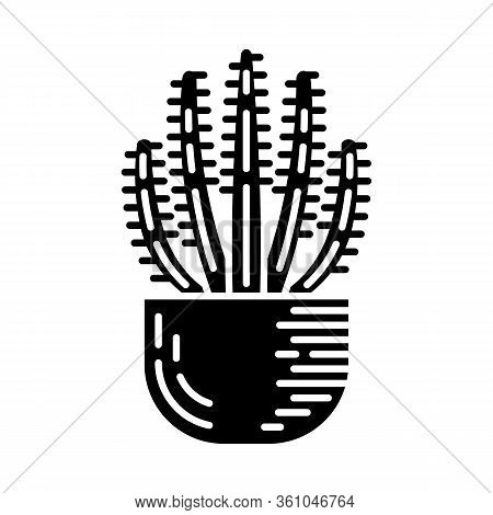 Organ Pipe Cactus In Pot Glyph Icon. Pitahaya. America Native Plant. Home And Garden Decoration. Sil