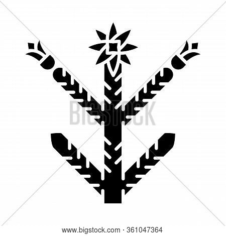 Cholla Glyph Icon. Cylindropuntia. Mexican And American Exotic Flora. Spiny Plant With Flowers. Silh