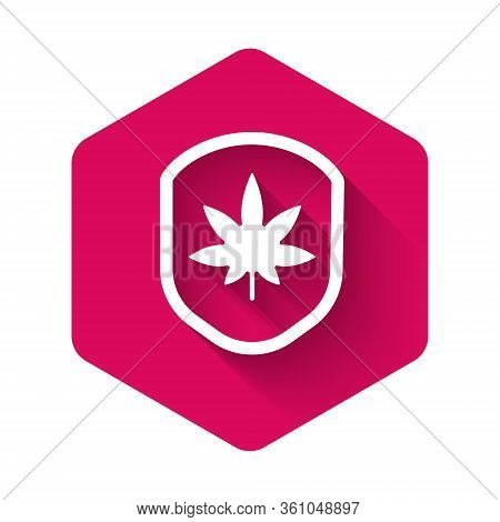 White Shield And Marijuana Or Cannabis Leaf Icon Isolated With Long Shadow. Marijuana Legalization.