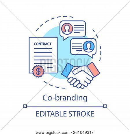 Co-branding Concept Icon. Business Partnership Idea Thin Line Illustration. Two Companies, Brands Co