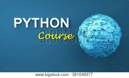 Python Course 3d Illustration. Concept Of Python Programming Language Online Learning. Advertisement