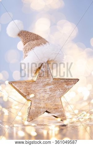Christmas Decor On Blue Bokeh Background. Holiday.