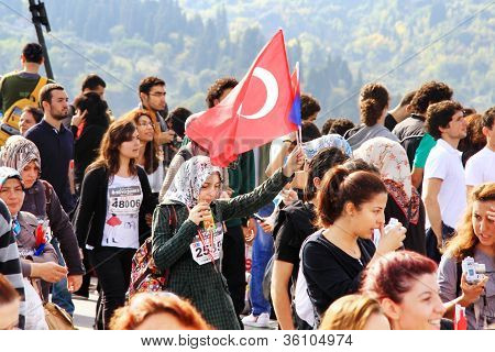 Woman holding Turkish Flag