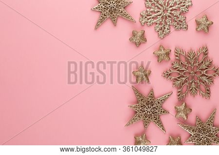 Christmas Background. Star Golden Glitter. Holidays Background, Flat Lay.