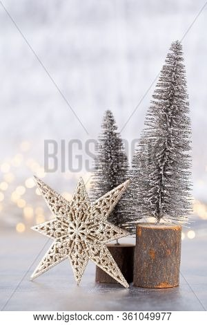 Christmas Tree On Silver, Bokeh Background. Greeting.