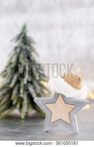 Christmas Tree On Silver, Bokeh Background. Celebration.