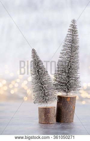 Christmas Tree On Silver, Bokeh Background. Decoration.