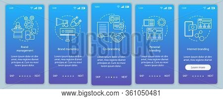 Branding Types Onboarding Mobile App Page Screen Vector Template. Brand Marketing. Personal, Interne