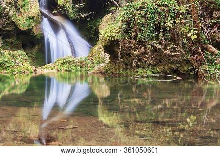 Closeup Of Beautiful Vaioaga Waterfall, Cheile Nerei National Park, Romania