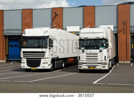 Big Trucks At Loading Dock