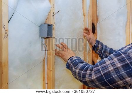 Work Composed Of Mineral Wool Insulation In The Wall Heating Insulation Warm House, Insulation, A Bu