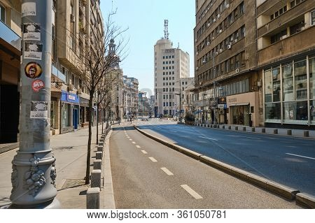Bucharest, Romania - April 10, 2020: Empty Victoriei Street On A Friday Evening During The Covid-19