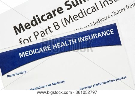 Medicare Health Insurance Card With Summary Statement Isolated On White