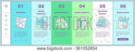 Branding Onboarding Mobile Web Pages Vector Template. Brand Strategy, Equity. Responsive Smartphone