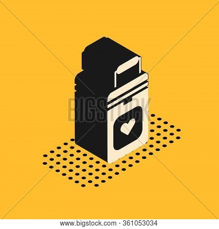 Isometric Cooler Box For Human Organs Transportation Icon Isolated On Yellow Background. Organ Trans