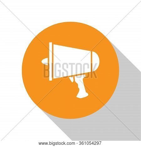 White Spread The Word, Megaphone Icon Isolated On White Background. Orange Circle Button. Vector Ill
