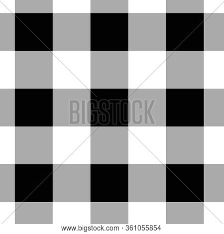 Black And White Plaid Pattern In Classic Buffalo Plaid Design.  12x12 Background In Traditional Buff